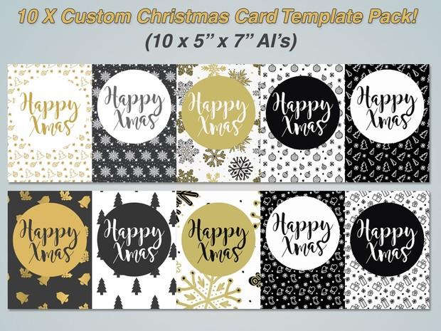 10 x Custom Xmas Greetings Cards