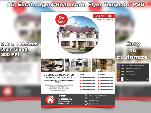 Estate Agentopen House Flyer Template A5 Psd