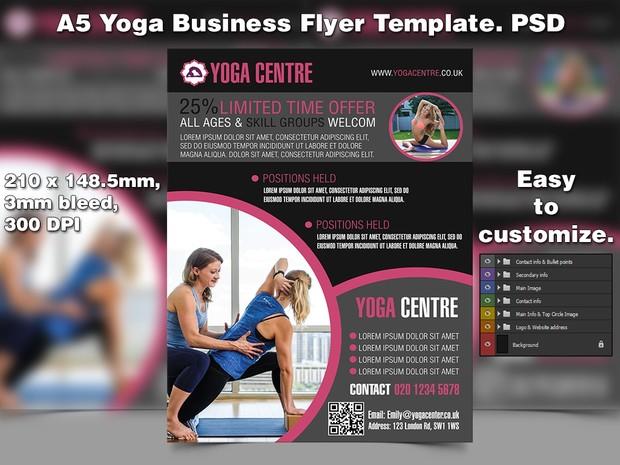 A5 Yoga Business PSD Flyer Template 5