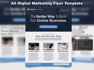 Digital Marketing Flyer Template (A5, PSD)