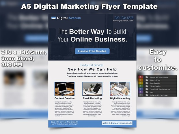 Digital Marketing Flyer Template A5 Psd