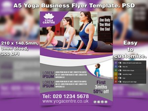 A5 Yoga Business PSD Flyer Template 3