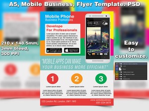 Mobile Apps Flyer Template (A5 PSD)