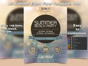 A5 Summer Event PSD Flyer Template 4