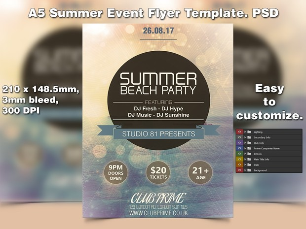 A5 Summer Event PSD Flyer Template 4