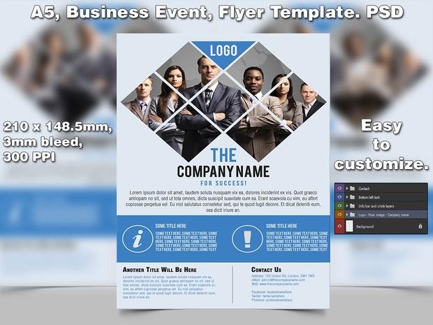 business event flyer template a5 psd studio81
