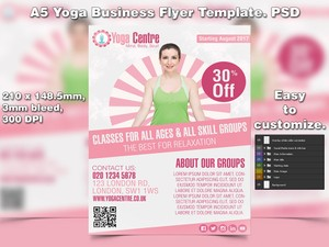 A5 Yoga Business PSD Flyer Template 4