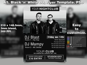 Black & White DJ Night flyer template (A5 PSD)