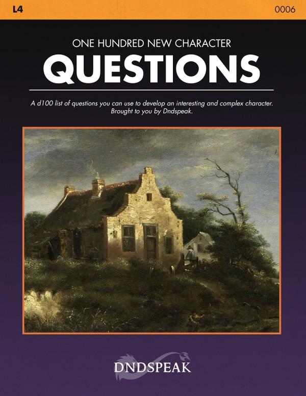 L4: 100 New Character Questions - PDF
