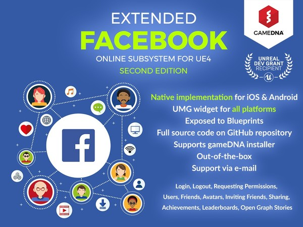 Extended Facebook Online Subsystem Plugin for UE4
