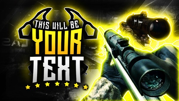 Fully Customizable Black And Yellow COD Thumbnail Template
