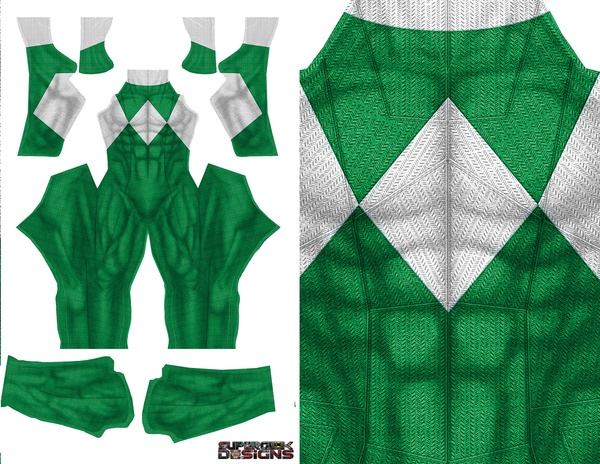 GREEN POWER RANGER (DOJ inspired design with no gold trim) pattern file