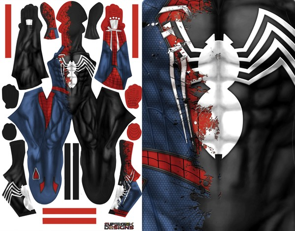 HALF PS4 SPIDEY half symbiote pattern file
