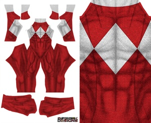 RED POWER RANGER (DOJ inspired design with no gold trim) pattern file