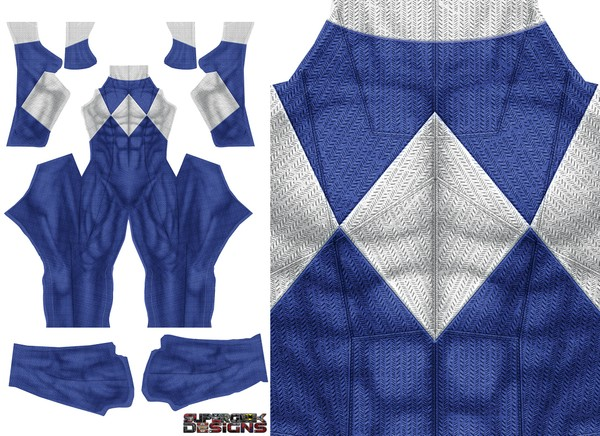 BLUE POWER RANGER (DOJ inspired design with no gold trim) pattern file