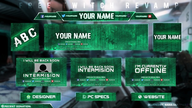 free twitch streaming overlay template pack 2