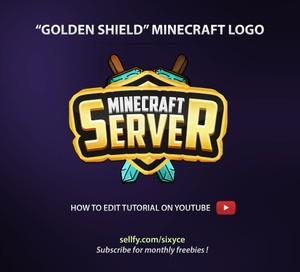 Golden Shield Minecraft PSD Logo