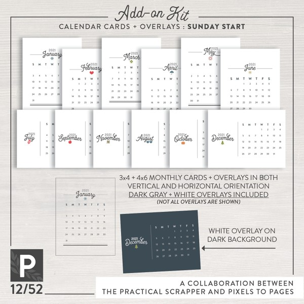 Project 12/52 Calendar Cards + Overlays—Sunday Start