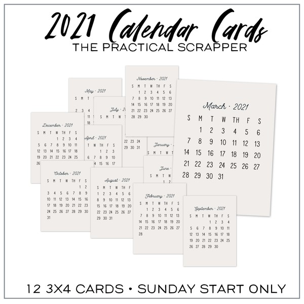 Sunday Start 2021 Monthly Calendars