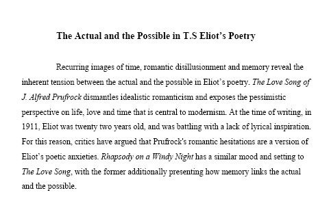 My 100% Essay on TS Eliot, The Love Song and Rhapsody