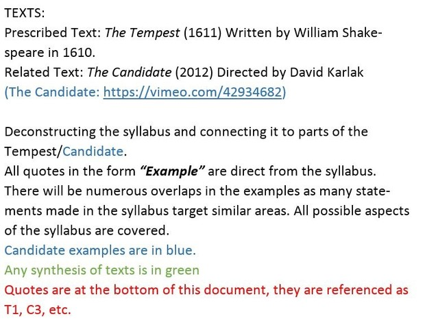 HSC DISCOVERY: Comprehensive Examples and Quotes for The Tempest and The Candidate