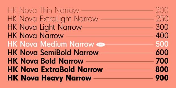HK Nova™ Narrow Typeface Family
