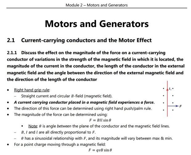HSC Physics - Module 2 - Motors and Generators