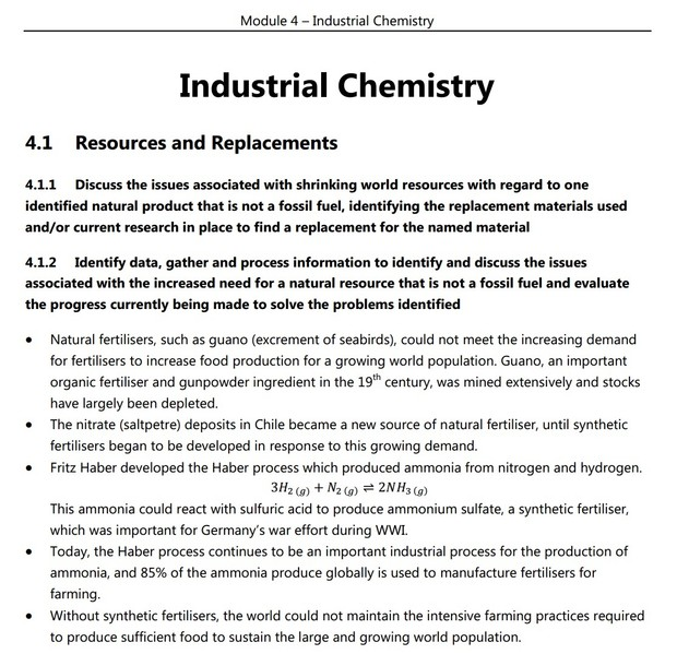 HSC Chemistry - Module 4 - Industrial Chemistry