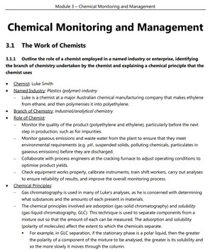 HSC Chemistry - Module 3 - Chemical Monitoring and Management