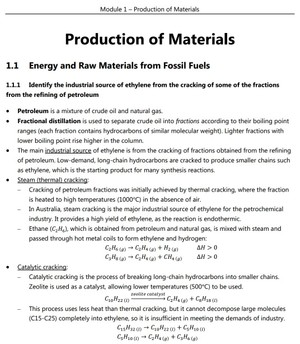 HSC Chemistry - Module 1 - Production of Materials