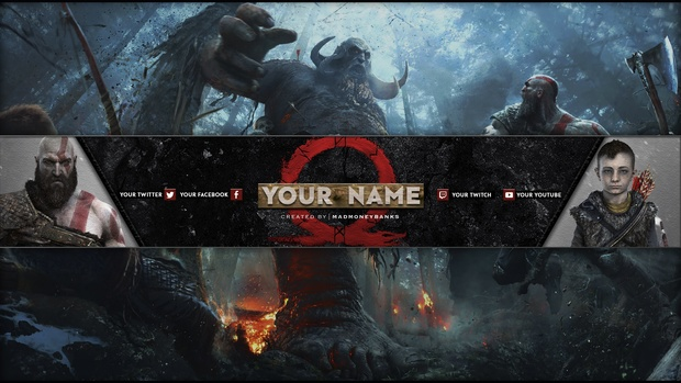 God of War a New Beginning YouTube Channel Banner Template
