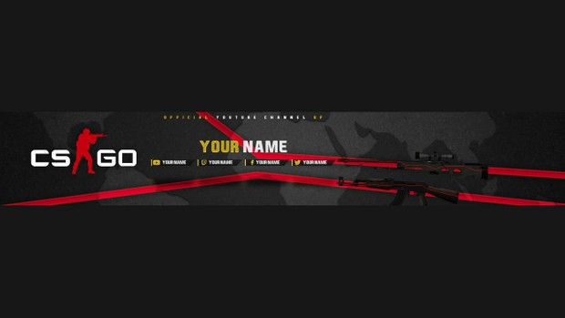 CS:GO YouTube Channel Banner Template