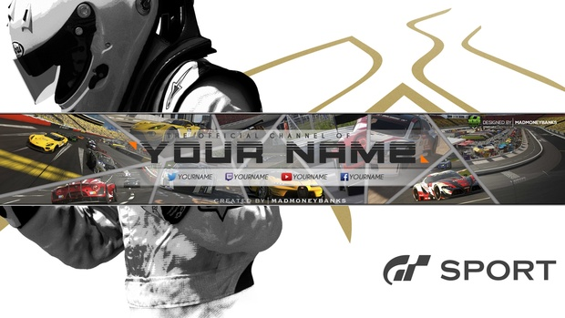 Gran Turismo Sport YouTube Channel Banner Template