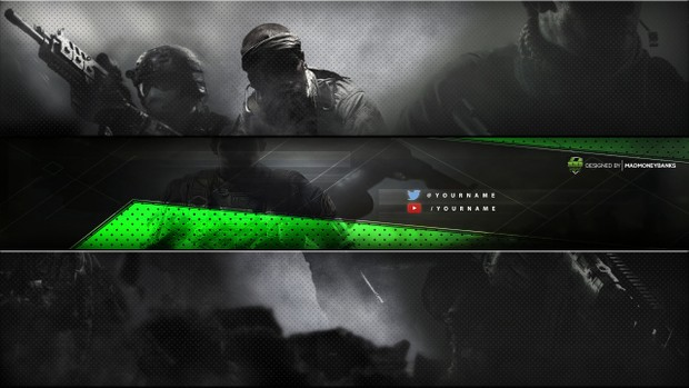 Minimalist Warfare YouTube Channel Banner Template