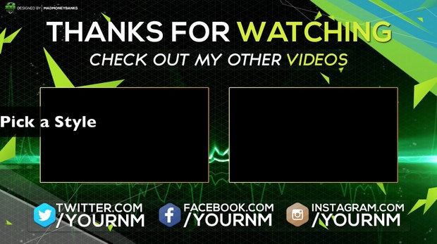 Vibrant Outro Card Template with Extras