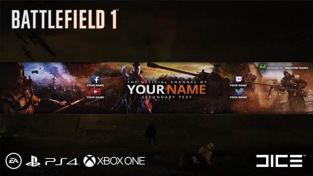 Battlefield 1 YouTube Channel Banner Template