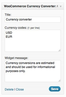 WooCommerce Currency Converter Widget Extension