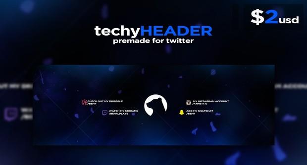 Techy Premade Header