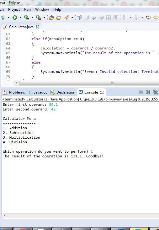 COP3502Lab 01: One-Run Calculator Solved