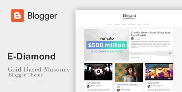 E-Diamond - Grid Based Masonry Blogger Theme