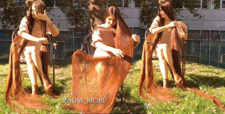 Super long hair shining in the sun
