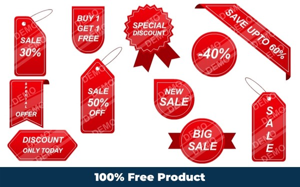 Discount Tag Stickers (Editable Graphics)