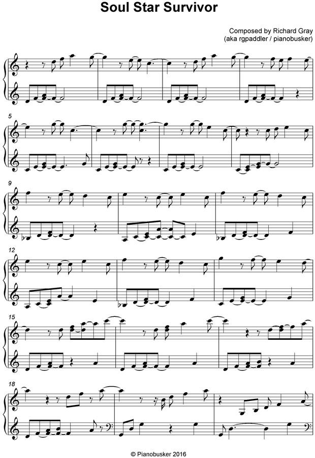 Soul Star Survivor Piano Sheet Music
