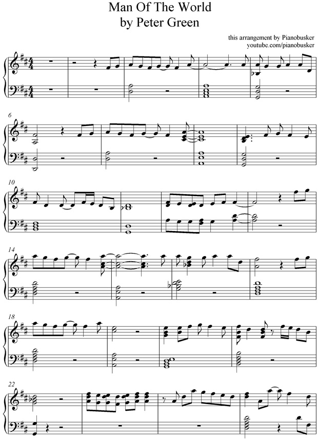 Man Of The World (piano sheet music)
