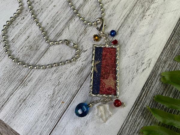Patriotic Design Star Lead Free Soldered Pendant Necklace