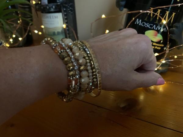 Crystal Gold Rhinestone Stackable Bracelets (Set of 6)