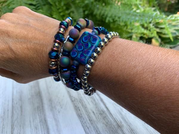 Stackable Set of Blue Sapphire Silver Copper Bracelets