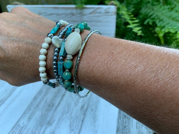 Stackable Turquoise White Silver Aqua Stretch and Bangle Bracelets