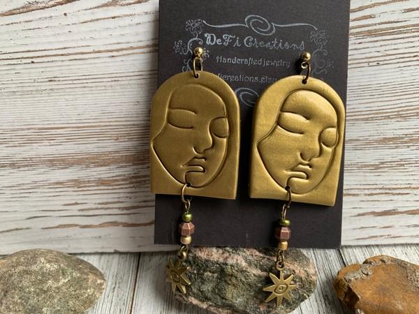 Gold Clay Face Sun Eye Dangling Earrings