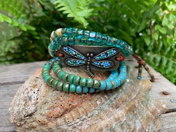 Leather Wrap Picasso Czech Beaded Dragonfly Bracelet Custom Order Only